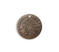 Vintaj Natural Brass Liberty Indian Coin 19.5mm