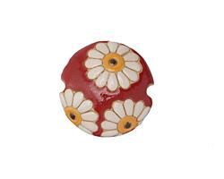 Golem Studio White Daisies on Red Carved Ceramic Lentil 23mm