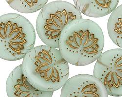 Czech Glass Matte Bronzed Mint Lotus Coin 18mm