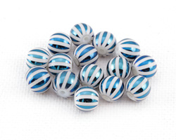 Metallic Cosmos Laser Etched Stripes on Crystal Round 8mm
