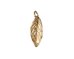 Nina Designs Natural Bronze Cupped Mint Leaf 7x21mm