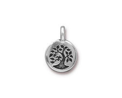 TierraCast Antique Silver (plated) Bird In A Tree Charm 12x17mm