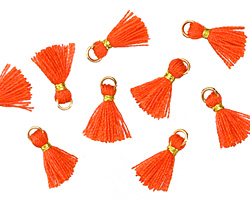 Coral w/ Gold Binding & Jump Ring Tiny Thread Tassel 12mm