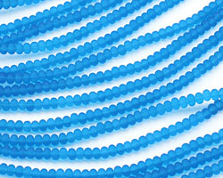 Pacific Blue Recycled Glass Rondelle 3x5mm