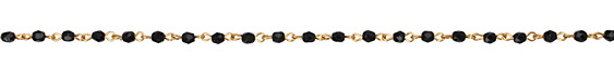 Czech Fire Polished Jet Crystal Faceted Round Gold (plated) Bead Chain