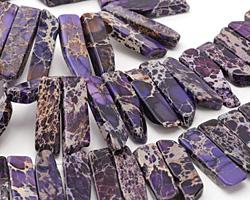 Purple Impression Jasper Flat Freeform Drop 7-15x12-30mm