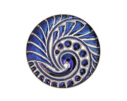 Czech Glass Iridescent Sapphire Lunar Spiral Button 27mm