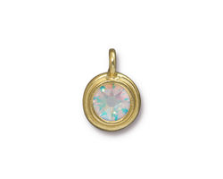 TierraCast Gold (plated) Stepped Bezel Charm w/ Crystal AB 12x17mm