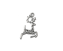 Antique Silver (plated) Prancing Reindeer Charm 13.5x23mm