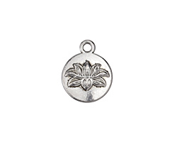 Antique Silver (plated) Lotus Coin Charm 13x16mm