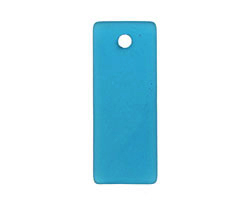 Peacock Blue Recycled Glass Bottle Curve Rectangle 14x35mm