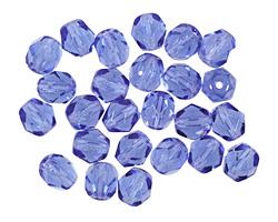 Czech Fire Polished Glass Sapphire Round 6mm