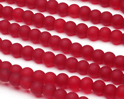 Cherry Red Recycled Glass Round 4mm