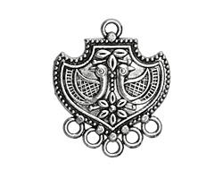 Zola Elements Antique Silver (plated) Folk Birds Shield Chandelier Focal 29x34mm