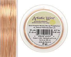 Artistic Wire Bare Phosphor Bronze 26 gauge, 30 yards