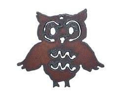 The Lipstick Ranch Rusted Iron Flapping Owl Pendant 64x58mm