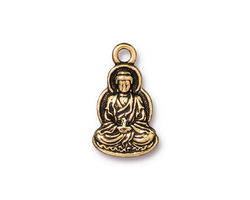 TierraCast Antique Gold (plated) Buddha Charm 12x21mm