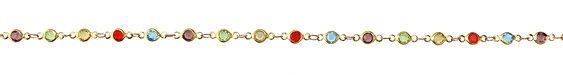 Multi Color Crystals Round Link Brass Chain