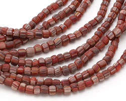 African Trade Beads Red, Black & Gray Striped Glass 4-6x5-7mm