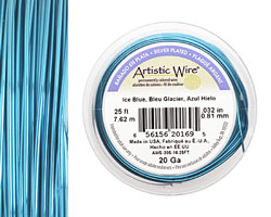 Artistic Wire Silver Plated Ice Blue 20 gauge, 25 feet