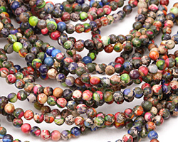 Mardi Gras (Mixed Impression) Jasper Round 4mm