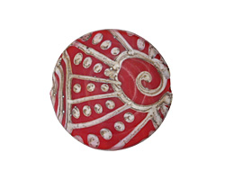 A Beaded Gift Silvered Red Tribal Swirl Glass Large Focal 31-33mm