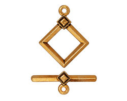 TierraCast Antique Gold (plated) Deco Diamond Toggle Clasp 22x17, 23 Bar