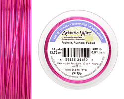 Artistic Wire Silver Plated Fuchsia 24 gauge, 15 yards