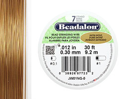 "Beadalon Satin Gold .012"" 7 Strand Wire 30ft."