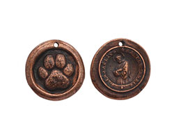 The Lipstick Ranch Antique Copper (plated) Pewter St. Francis Paw Wax Seal Charm 21-22mm