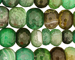 Green Line Agate Faceted Rondelle Graduated 6-14x10-20mm