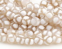Tibetan (Dzi) Agate White & Natural Patterned Faceted Round 10mm