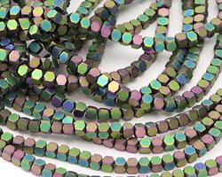Iris Green Hematite (matte) Hexcut Cube 3x3mm