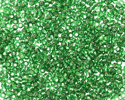 Kelly Green (with Silver Lining) Round 11/0 Seed Bead