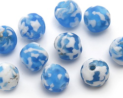 African Recycled Glass Aqua & White Tumbled Round 10-14mm