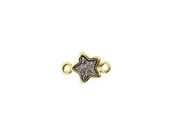 Metallic Jet Crystal Druzy Star Link in Gold Finish Bezel 12x8mm