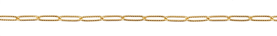 Gold (plated) Textured Paperclip Chain