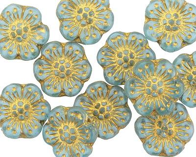 Czech Glass Sea Green w/ Gold Wild Rose Coin 13mm