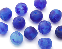 African Recycled Glass Island Blue Tumbled Round 12-14mm