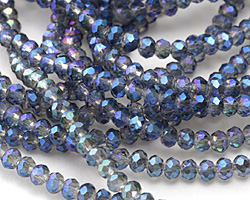 Black Diamond w/ Blue Luster Crystal Faceted Rondelle 4mm