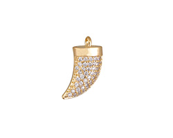 Satin Gold Finish Pave CZ Horn Focal 11x17mm