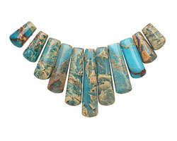 Turquoise Impression Jasper Ladder Pendant Set 15-38mm