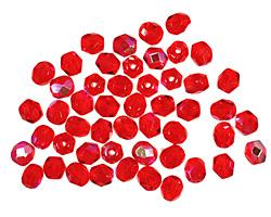 Czech Fire Polished Glass Siam Ruby AB Round 4mm