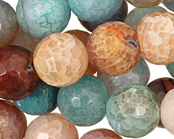 Beach Agate Faceted Round 13-14mm