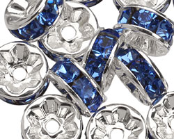 Silver (plated) Sapphire Rhinestone Rondelle 8mm