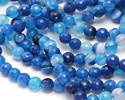 Sky Blue Line Agate Faceted Round 6mm
