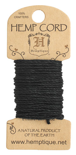 Black Hemp Twine 20 lb, 20 ft