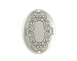 Vintaj Antique Sterling Silver (plated) Scrolled Border Oval Blank 26x36mm