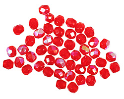 Czech Fire Polished Glass Siam Ruby AB Round 3mm