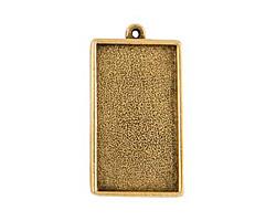 Nunn Design Antique Gold (plated) Grande Rectangle Bezel Pendant 46x25mm